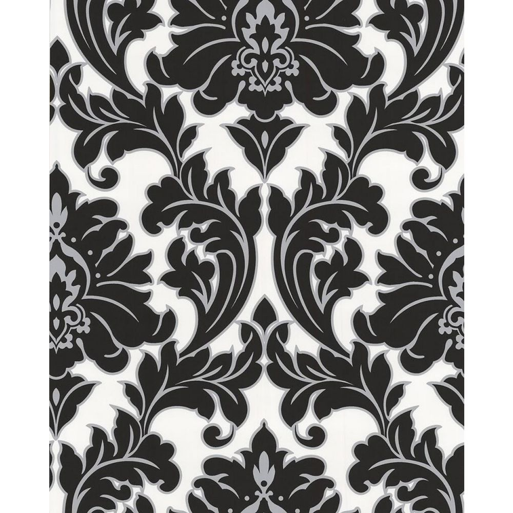 Superfresco Majestic 8-inch x 5 3/4-inch Black and White Wallpaper Sample