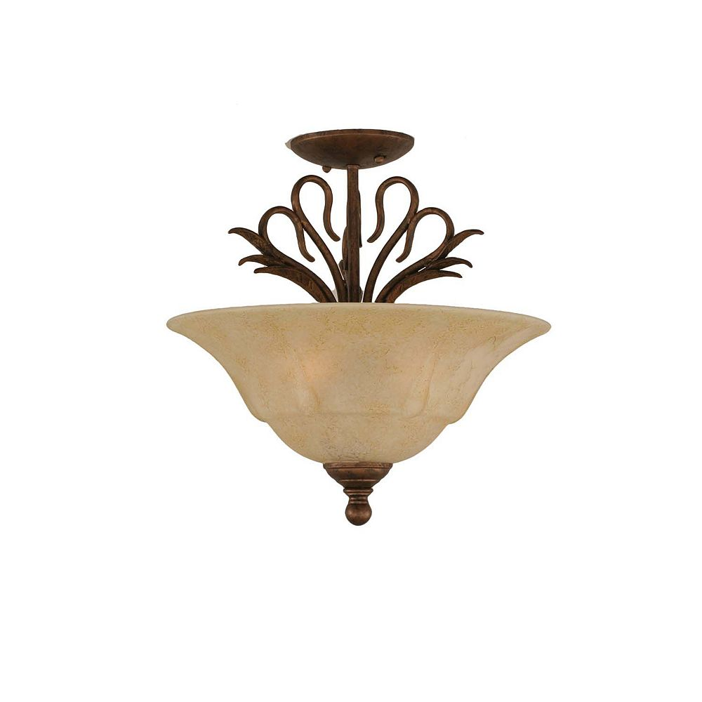 Filament Design Concord 3-Light Ceiling Bronze Semi Flush with an Italian Marble Glass