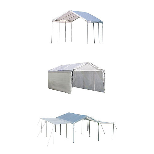 Max AP 10 ft. x 20 ft. 3-in-1 Canopy in White with Enclosure and Extension Kits