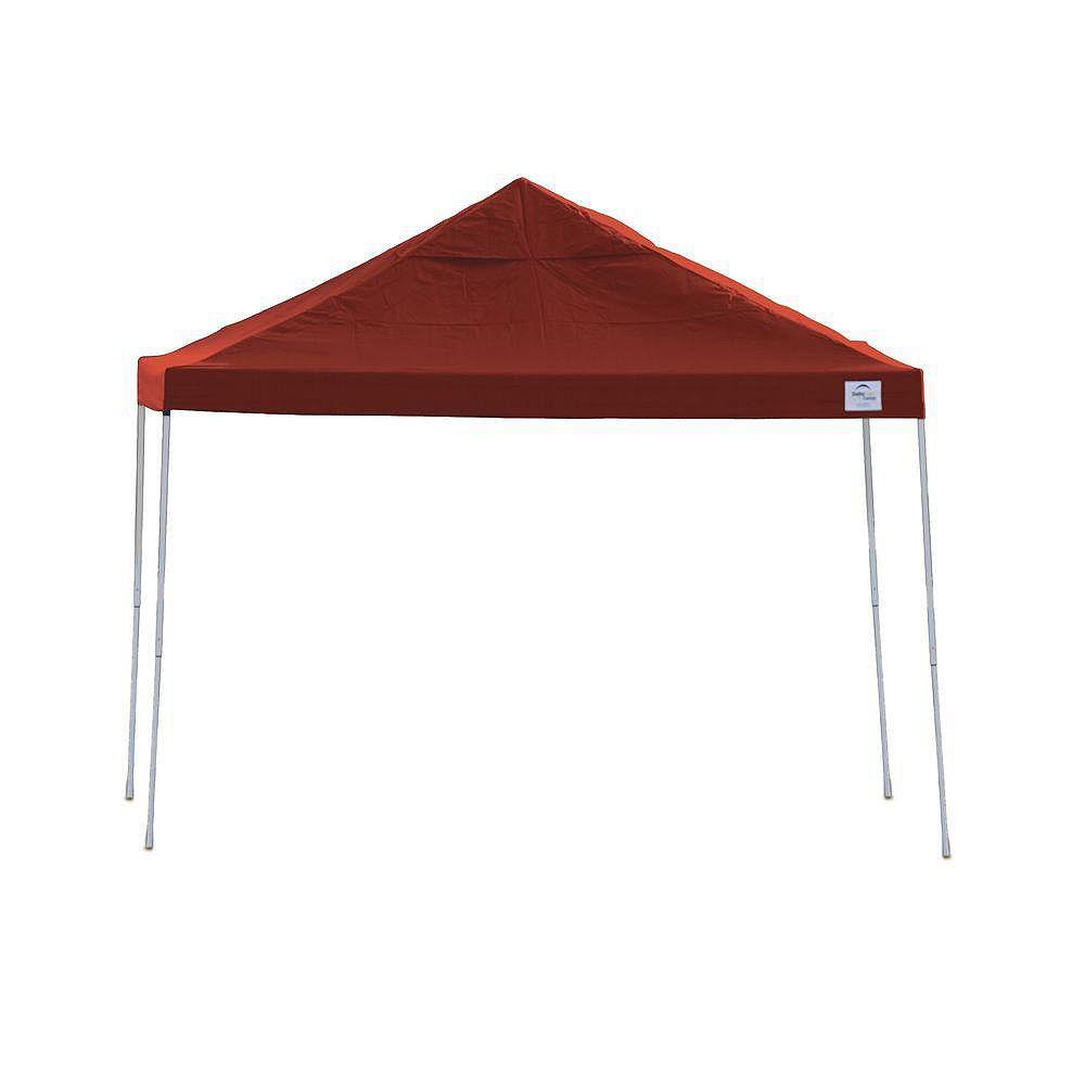 ShelterLogic 12 ft. x 12 ft. Straight Leg Pop-Up Canopy, Red Cover, Black Roller Bag