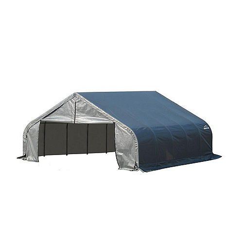 18 ft. x 28 ft. x 10 ft. Peak Style Shelter with Grey Cover