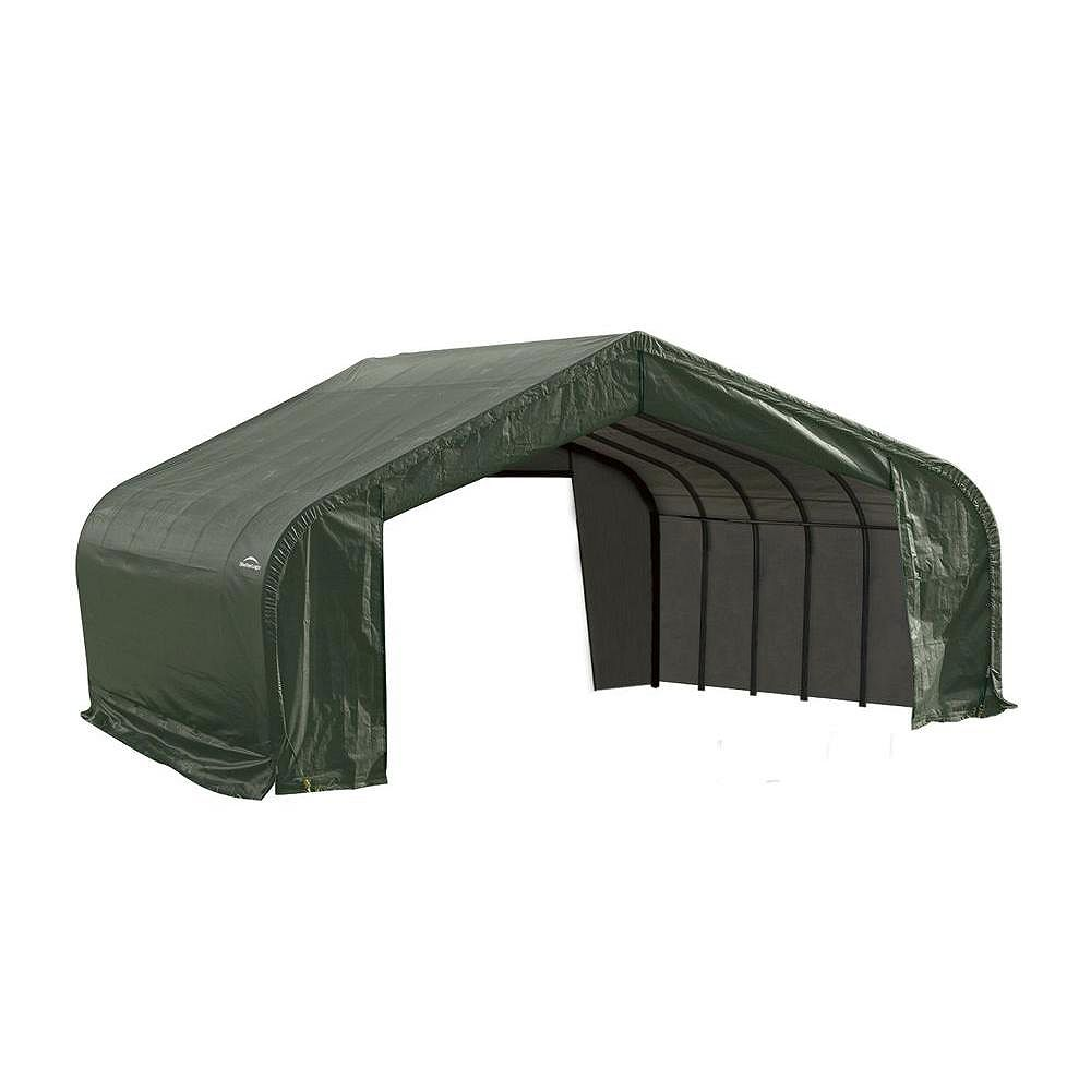 ShelterLogic 22 ft. x 24 ft. x 13 ft. Peak Style Shelter with Green Cover