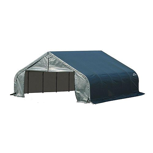 18 ft. x 28 ft. x 12 ft. Peak Style Shelter with Green Cover