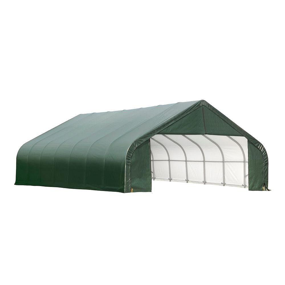 ShelterLogic 22 ft. x 28 ft. x 10 ft. Peak Style Shelter with Green Cover