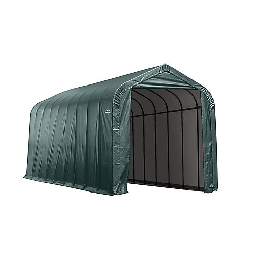 15 ft. x 28 ft. x 12 ft. Peak Style Shelter with Green Cover