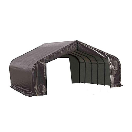 22 ft. x 24 ft. x 11 ft. Peak Style Shelter with Grey Cover