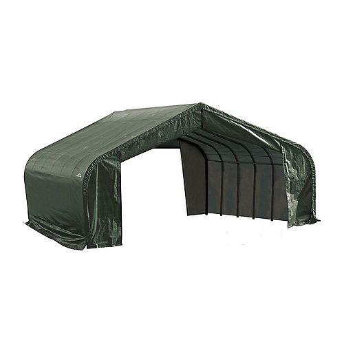 22 ft. x 24 ft. x 11 ft. Peak Style Shelter with Green Cover