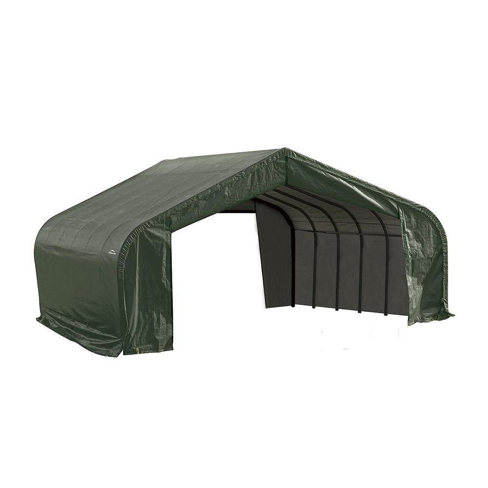 ShelterLogic 22 ft. x 20 ft. x 13 ft. Peak Style Shelter with Green Cover
