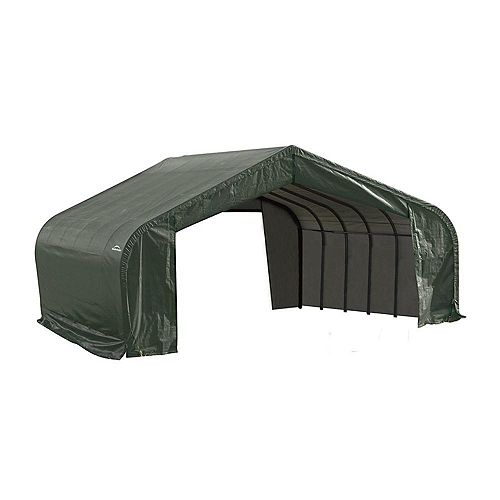 22 ft. x 28 ft. x 13 ft. Peak Style Shelter with Green Cover