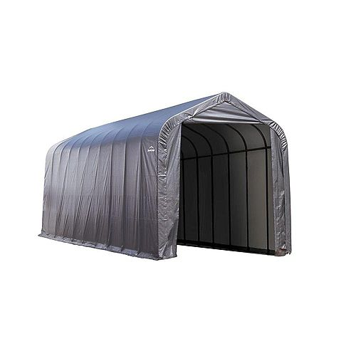 15 ft. x 24 ft. x 12 ft. Peak Style Shelter with Grey Cover