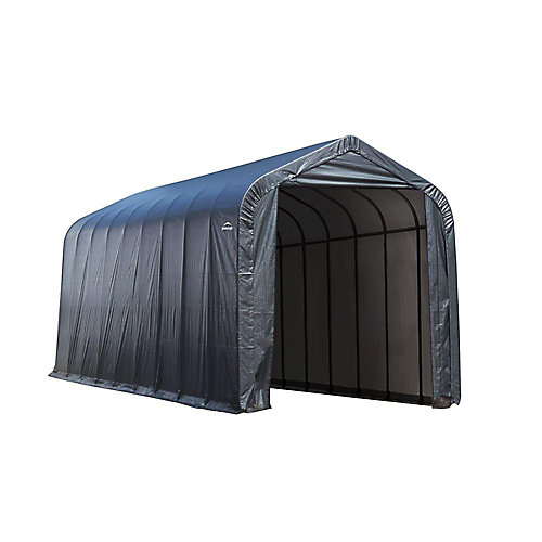 15 ft. x 28 ft. x 12 ft. Peak Style Shelter with Grey Cover