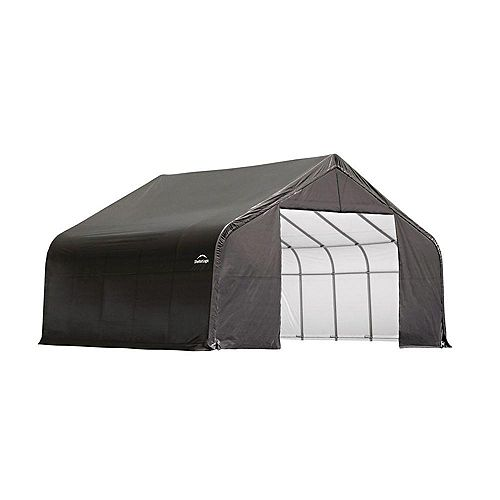 Grey Cover Peak Style Shelter - 26 x 20 x 12 Feet