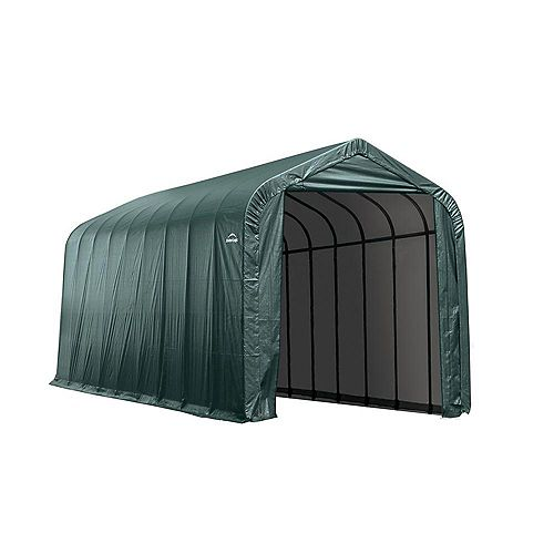 14 ft. x 36 ft. x 16 ft. Peak Style Shelter in Green