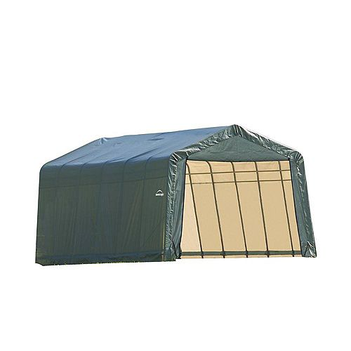 13 ft. x 28 ft. x 10 ft. Peak Style Shelter with Green Cover