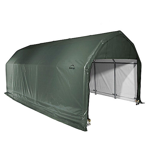 12 ft. x 24 ft. x 11 ft. Barn Style Shelter in Green