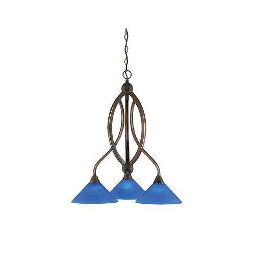 Filament Design Concord 3 lumières plafond Noir Copper Chandelier à incandescence avec un bleu italien verre