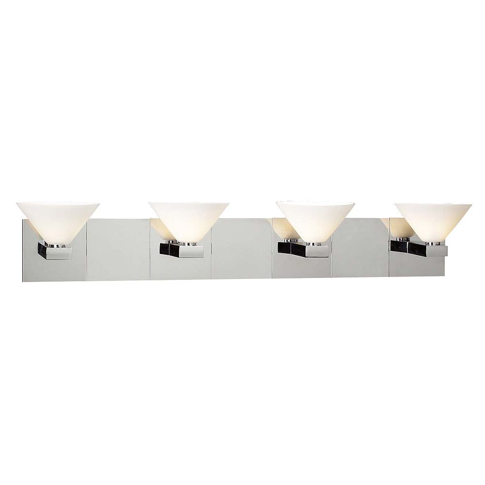 Contemporary Beauty 3 Light Bath Light with Matte Opal Glass and Polished Chorme Finish