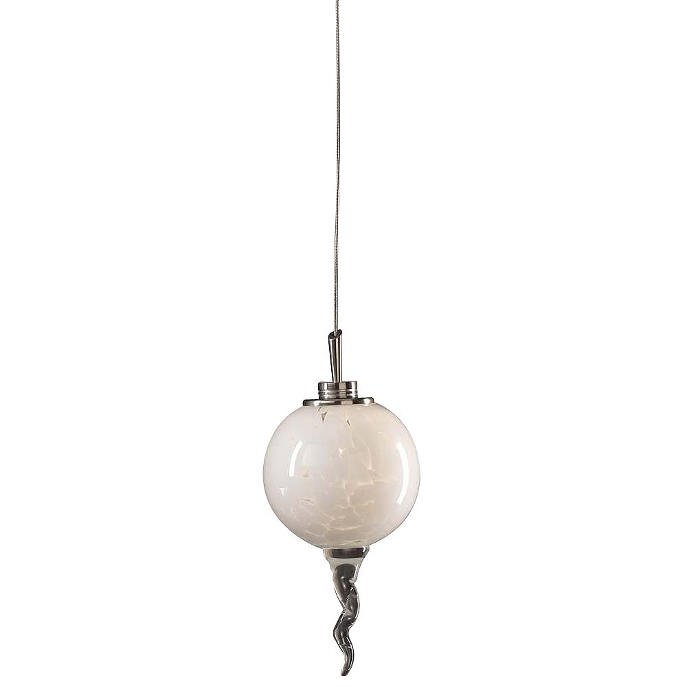 Contemporary Beauty 1 Light Mini Pendant with White Glass and Satin Nickel Finish