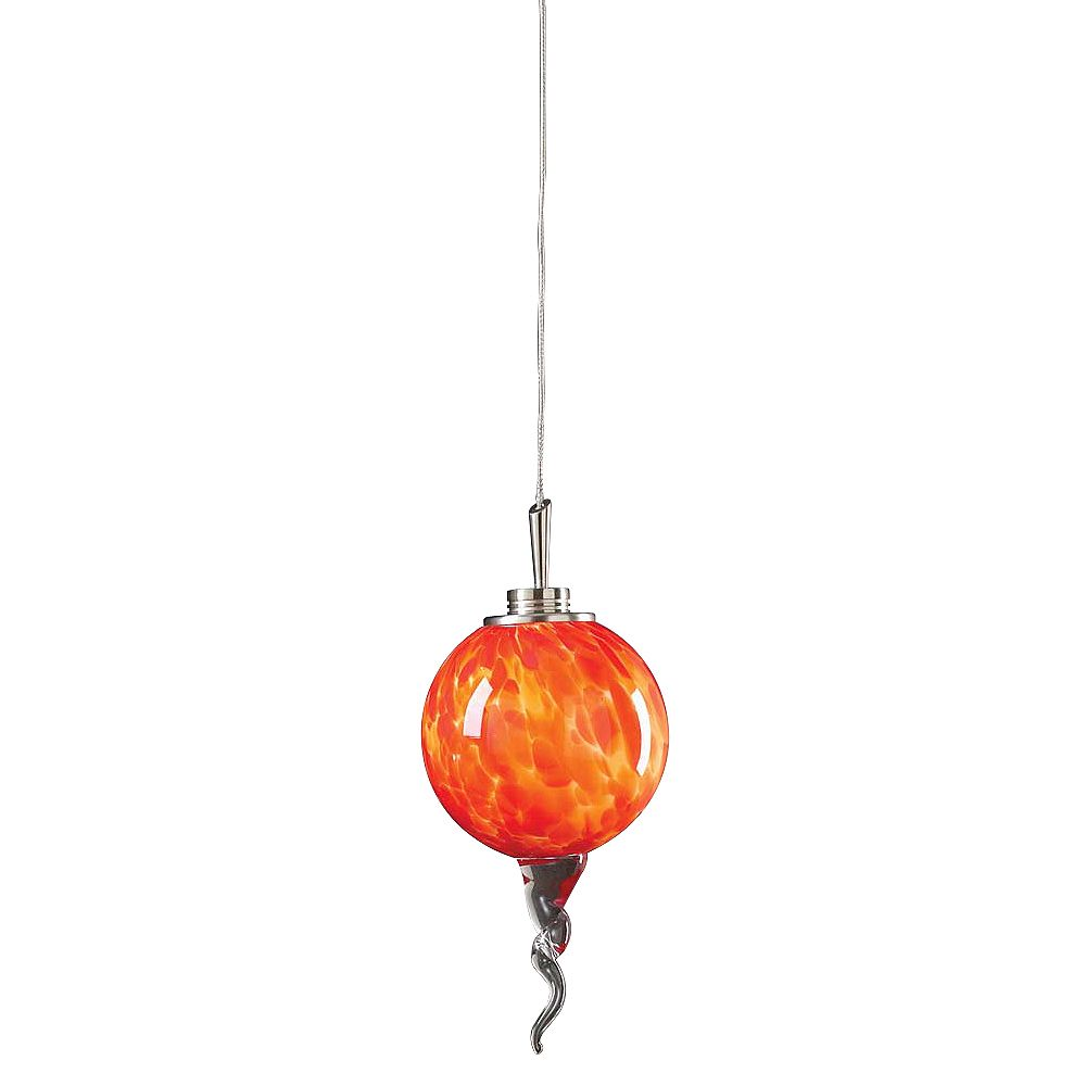 Contemporary Beauty 1 Light Mini Pendant with Red Glass and Satin Nickel Finish