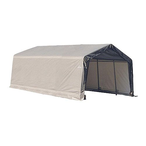 13 ft. x 20 ft. x 10 ft. Peak Style Shelter with Grey Cover