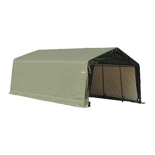 13 ft. x 20 ft. x 10 ft. Peak Style Shelter with Green Cover