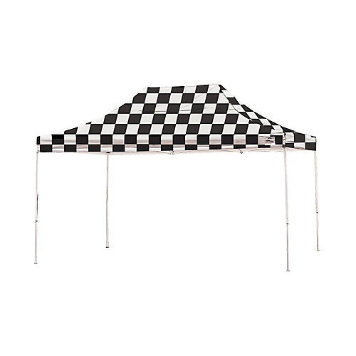 Pro 10 ft. x 15 ft. Pop-Up Canopy Straight Leg, Checkered Flag Cover with Storage Bag