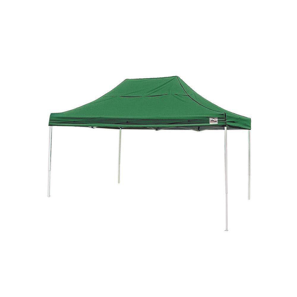 ShelterLogic Auvent escamotable à montants droits, série Pro, vert, 10 x 15 pi