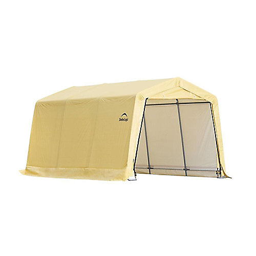 10 ft. x 15 ft. x 8 ft. Compact Auto Shelter Instant Garage in Tan