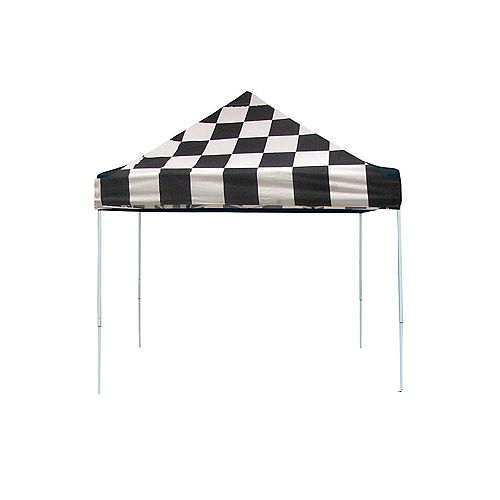 ShelterLogic Pro 10 ft. x 10 ft. Pop-Up Canopy Straight Leg, Checkered Flag Cover with Storage Bag