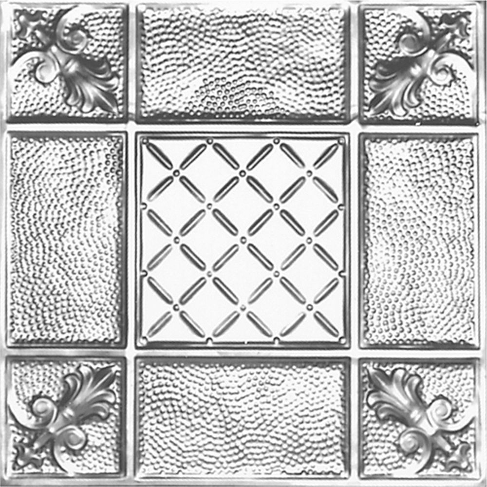 Shanko 2Feet X 4Feet Steel Silver Nail-Up Ceiling Tile  Design Repeat Every 24 Inches