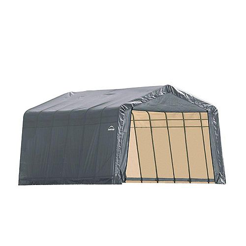 13 ft. x 24 ft. x 10 ft. Peak Style Shelter with Grey Cover