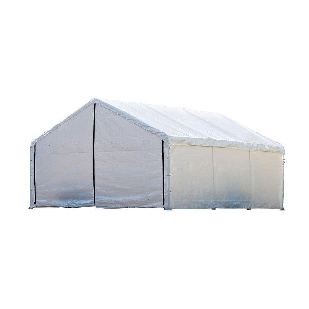 ShelterLogic (Armature& couvert principale pas inclus)   Auvent non inclus  accessoire incluant 4 panneaux uniquement.Auvent Super Max, 18 x 20 pi, à nervures de 2 po, toile blanche, ensemble de parois