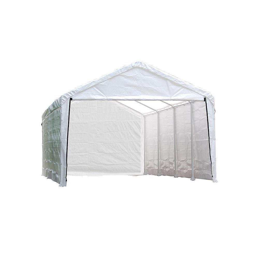 ShelterLogic Armature & couvert principale pas inclus. Auvent, 12 x 26 pi, armature à 4 nervures de 2 po, toile blanche, ensemble de parois