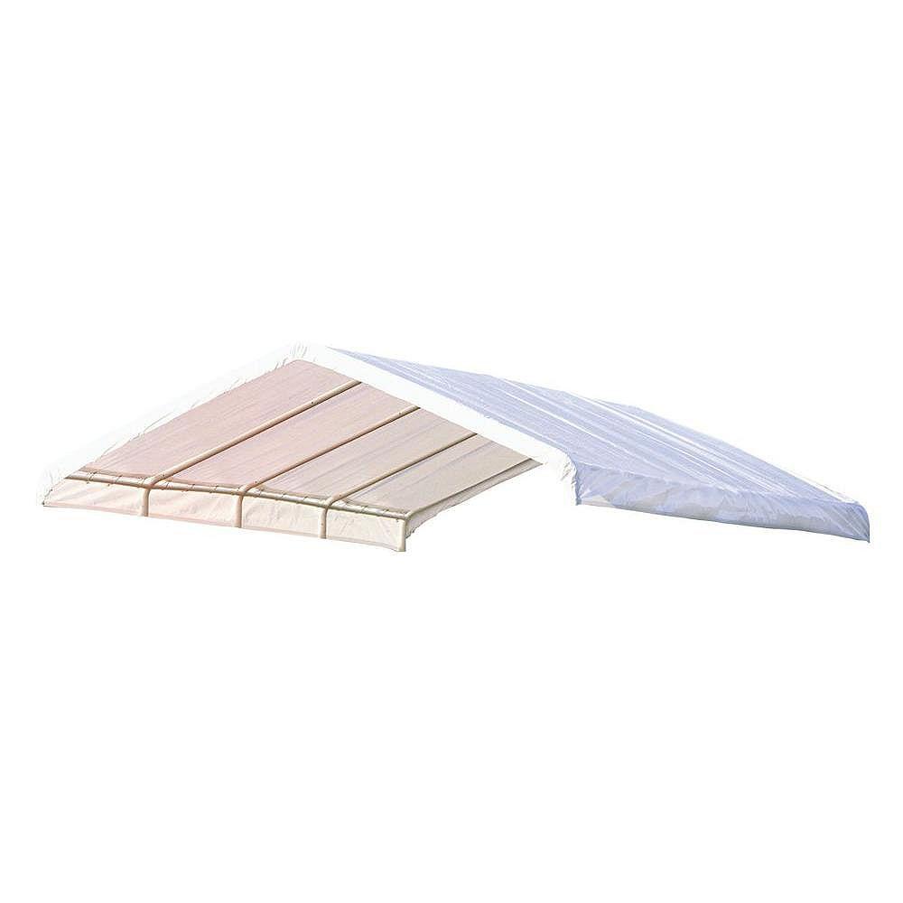 ShelterLogic (COUVERT SEULEMENT) Auvent  blanc, 12 x 26 pi Toile de rechange blanche pour auvent à armature de 2 po