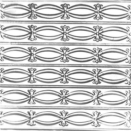 Shanko 2 Feet x 4 Feet Chrome Plated Steel Nail-Up Ceiling Tile Beaded Plate