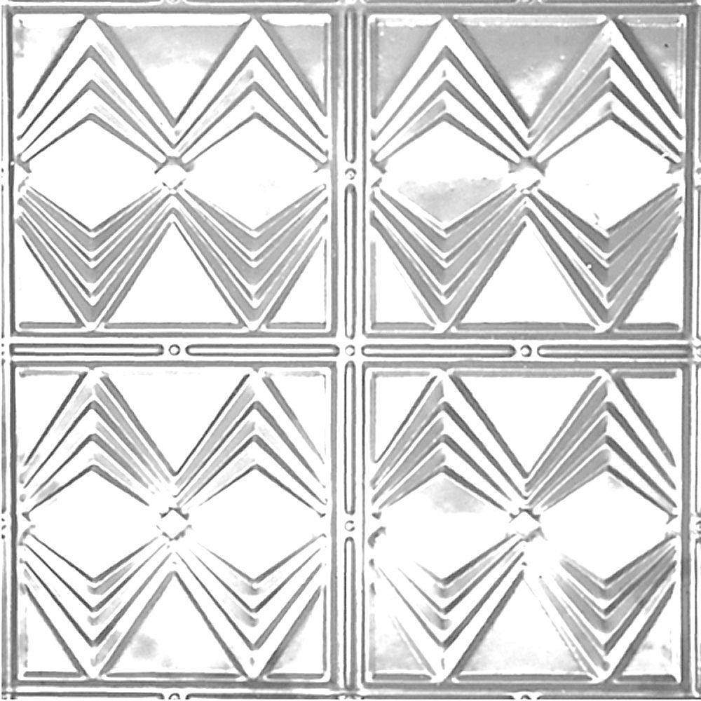 Shanko 2 Feet x 2  Feet  .Chrome Plated Steel Finish Lay-In Ceiling Tile  Design Repeat Every 12 Inches