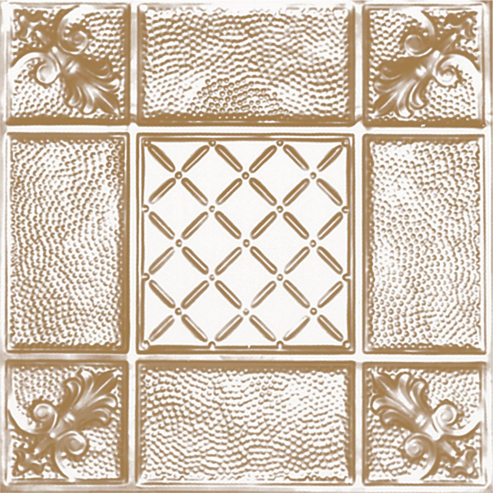 Shanko 2 Feet x 2 Feet Brass Plated Steel Finish Lay-In Ceiling Tile  Design Repeat Every 24 Inches