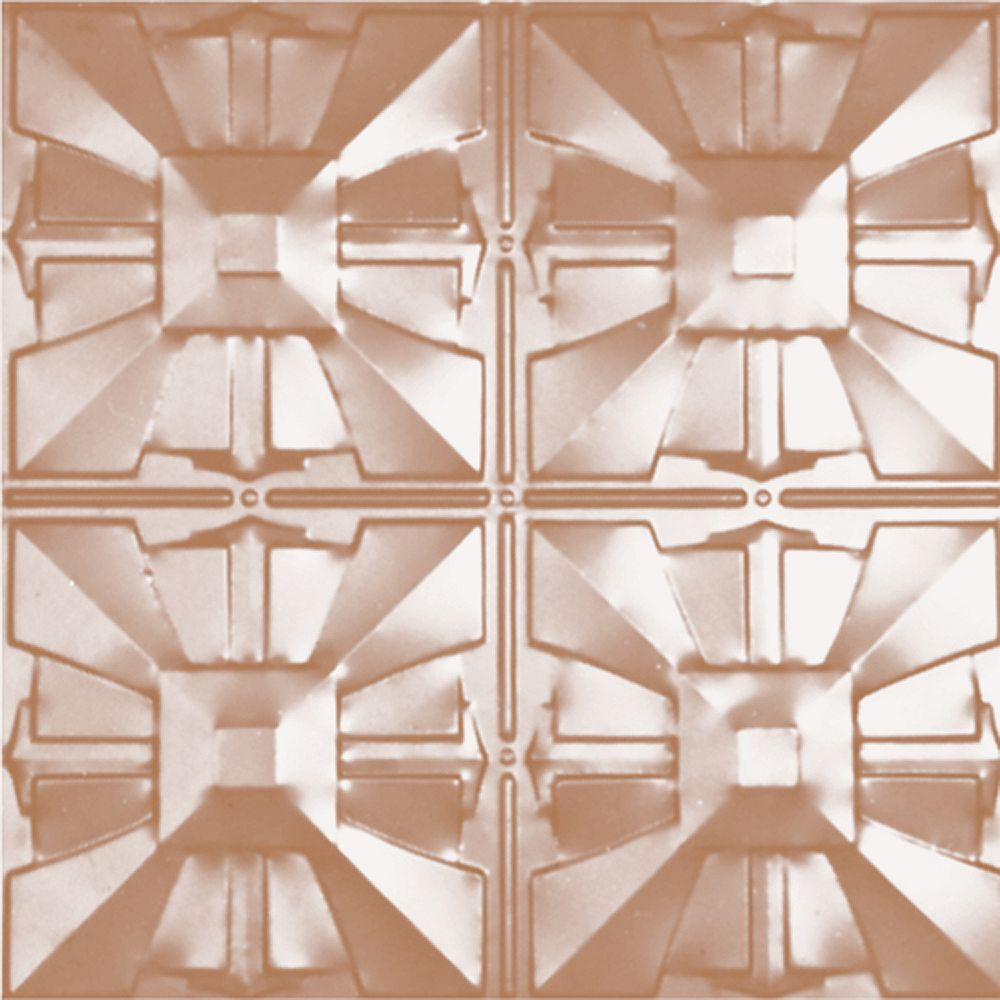Shanko 2 Feet x 4 Feet Copper Plated Steel Finish   Nail-Up Ceiling Tile Design Repeat Every 12 Inches