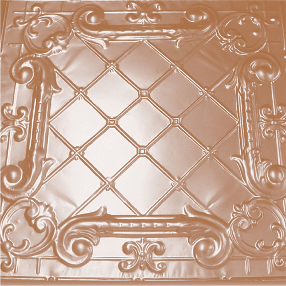 Shanko 2 Feet x 2 Feet Copper Plated Steel Finish Lay-In Ceiling Tile  Design Repeat Every 24 Inches