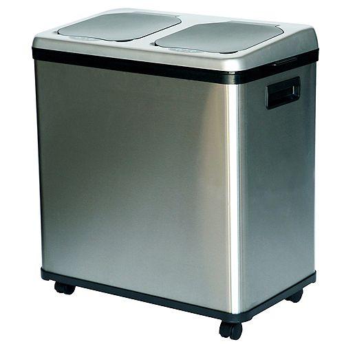 Poubelle/bac recyclable sans contact avec détecteur automatique à double compartiment de 16 gallons et en acide inoxydable