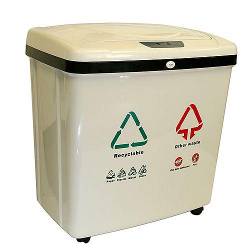 Poubelle/bac recyclable sans contact avec détecteur automatique à double compartiment de 16 gallons
