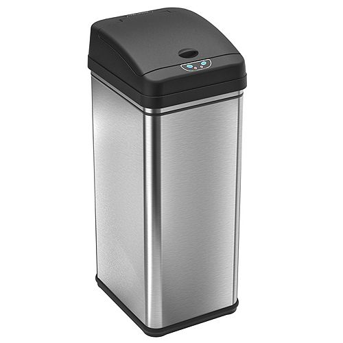 iTouchless 49L Stainless Steel Trash Can with Automatic Touch-Free Sensor and Deodorizing Carbon Filter