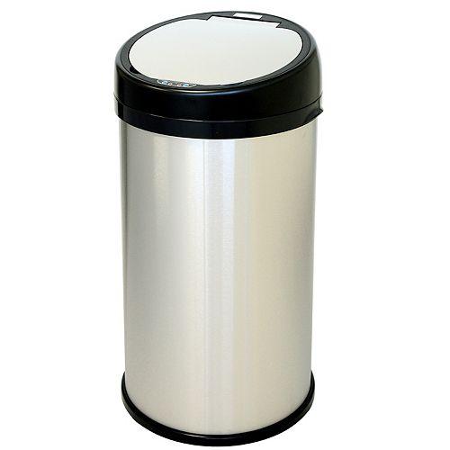 Poubelle sans contact avec détecteur en acier inoxydable de 13 gallons et ouverture extra large et circulaire
