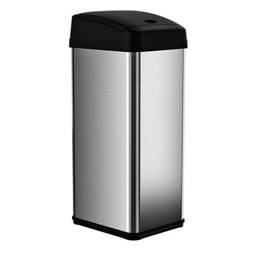 iTouchless 49.2 L Stainless Steel Square Extra-Wide Lid Opening Motion Sensing Touchless Trash Can