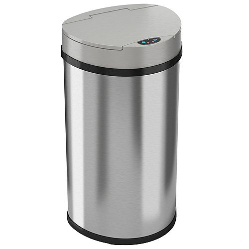 iTouchless 13 Gallon Semi-Round Extra-Wide Automatic Sensor Touchless Trash Can