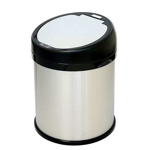 Poubelle sans contact avec détecteur en acier inoxydable de 8 gallons et ouverture extra large et circulaire