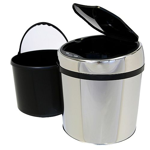 Poubelle circulaire sans contact avec détecteur automatique en acier inoxydable d'1,5 gallons