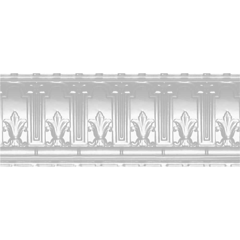 Shanko White Finish Steel Cornice 9.5  Inches  Projection x 9.5  Inches  Deep x 4 Feet Long