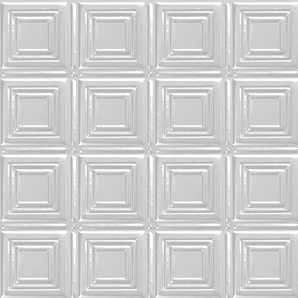Shanko 2 Feet x 2 Feet White Finish Steel Lay-In Ceiling Tile Design Repeat Every 6 Inches