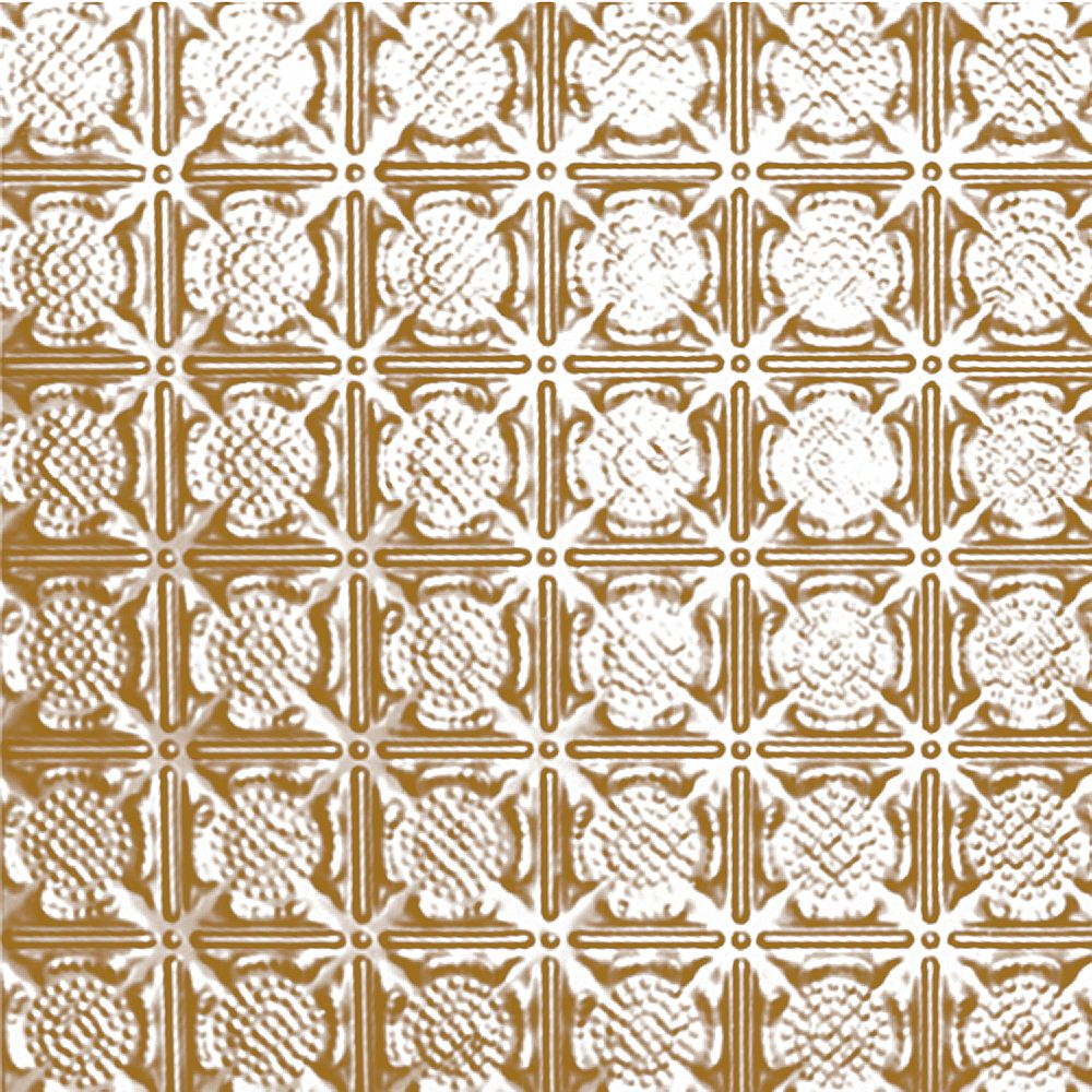 Shanko 2 Feet x 4 Feet Brass Plated Steel Nail-Up Ceiling Tile Design Repeat Every 3 Inches